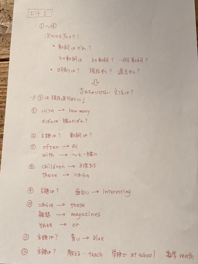 中1英語まとめテストヒント1